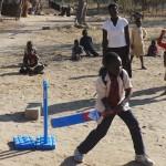 Children enjoying the sports equipment sent over.