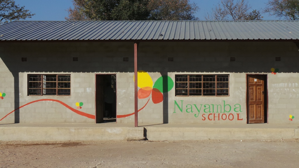 The school building, with its new mural.